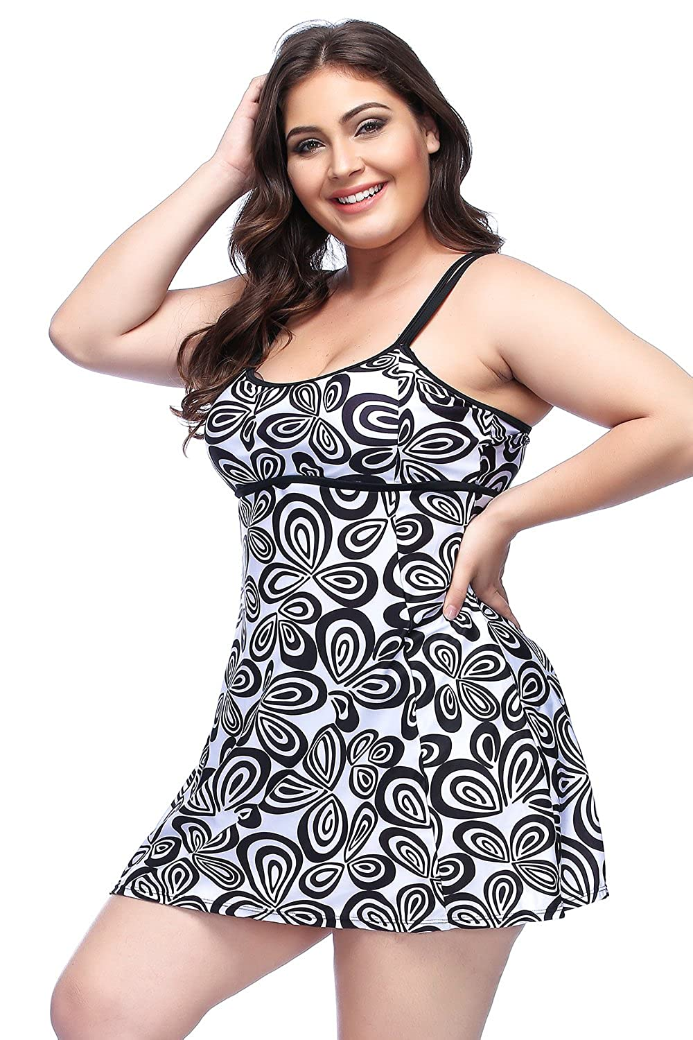 60s 70s Plus Size Dresses, Clothing, Costumes Xflyee Womens Plus Size Tankini Set Two Pieces Floral Printed Swimsuit L-XXXXL $29.99 AT vintagedancer.com