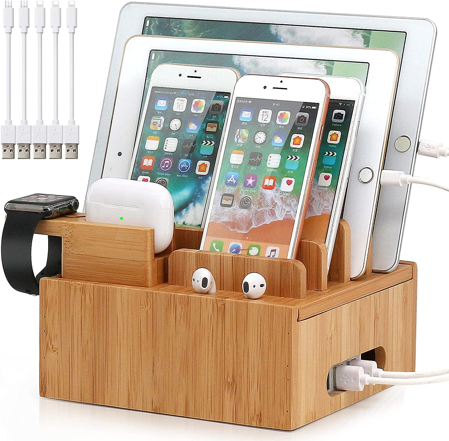 Pezin & Hulin Bamboo Charge Station Organizer for Multiple Devices, Desktop Docking Station Compatible with iPhone, iPad, AirPods, iWatch (Included Watch & AirPods Stand, 5 Cables,NO Charger HUB)