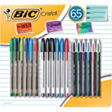 BIC Cristal Smooth Ballpoint Stick Pen, Assorted Colors, 65 Pack