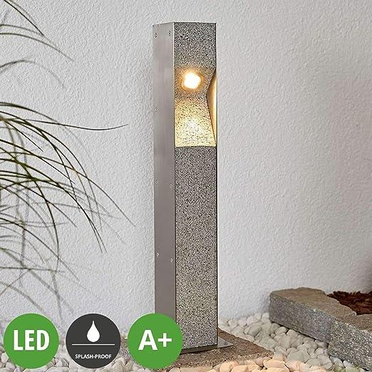 LED Lámpara para exterior Amelia (Moderno) en Gris hecho de Piedra (1 llama, A+) de LAMPENWELT | iluminación de senderos, baliza, iluminación de senderos, farola: Amazon.es: Iluminación