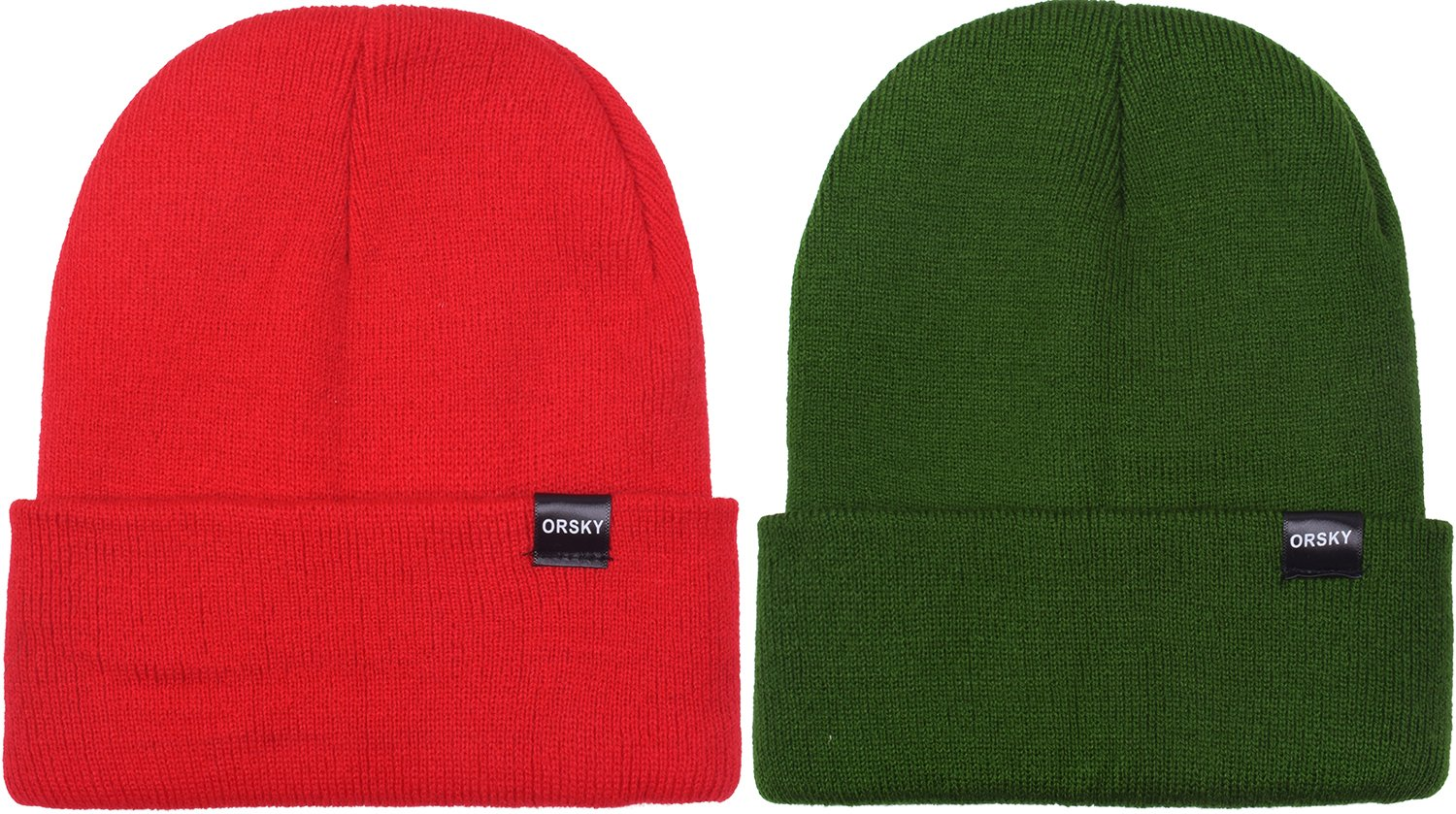 Stylish Beanie Hats for Boys Girls Winter Caps for Kids Beanies Skull Cap 2 Pcs Red/Green One Size
