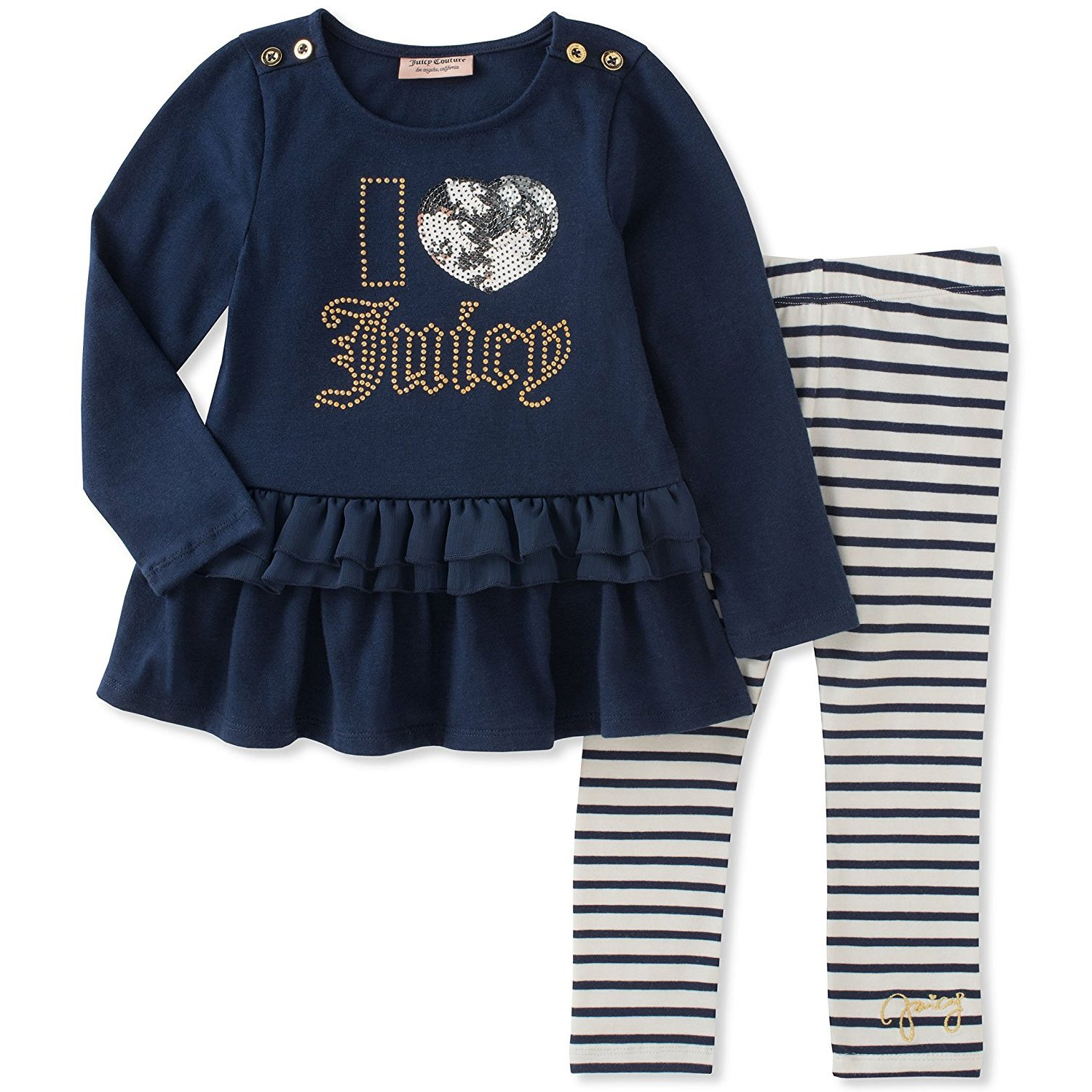 Juicy Couture Girls' Little Tunic Legging Set, White/Medieval Blue, 5 by Juicy Couture