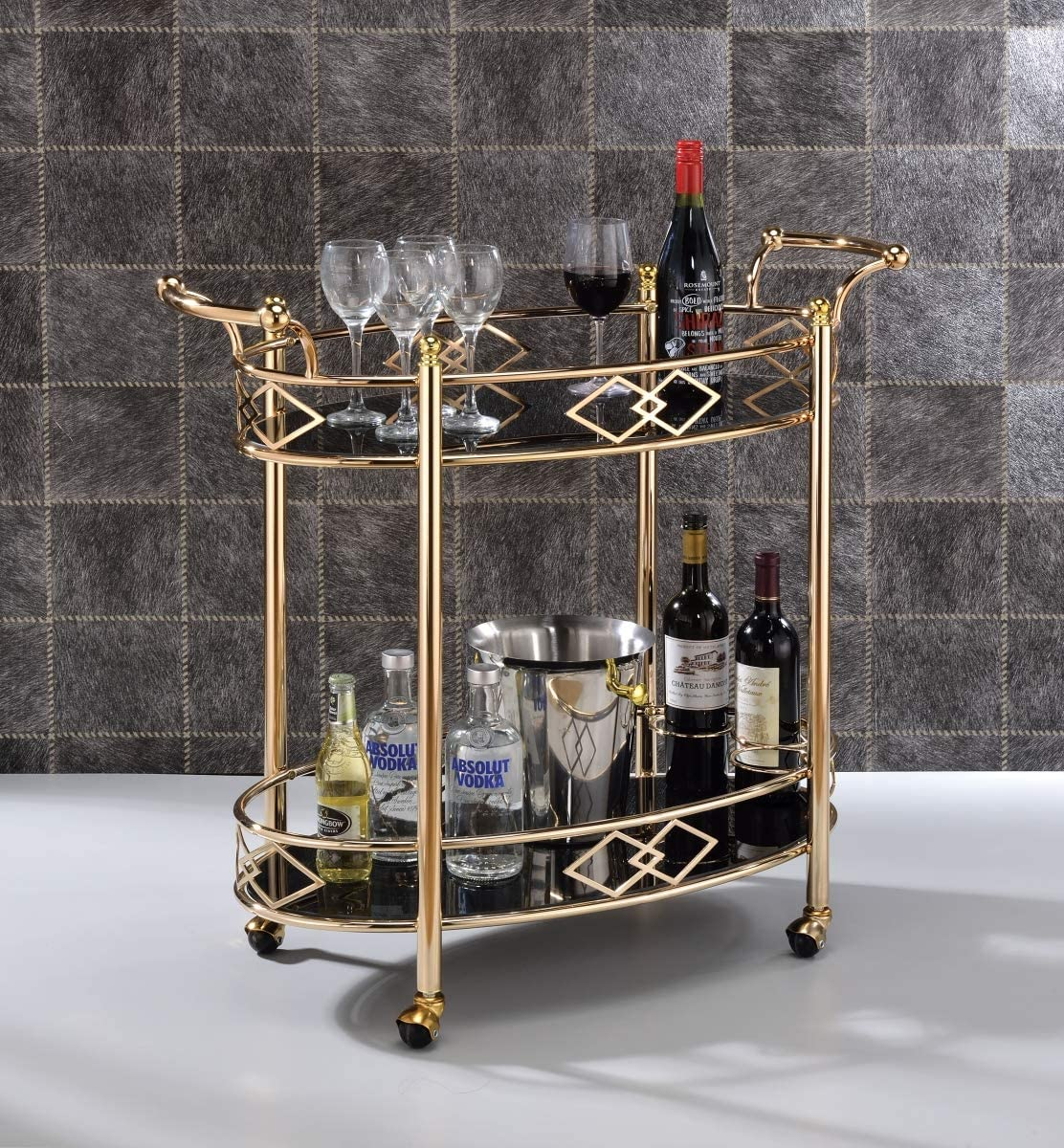 ACME Ottesen Serving Cart – – Gold Black Glass