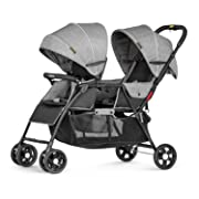 Besrey Double Stroller for Baby and Toddler-Tandem Duo Connect Strollers - Gray