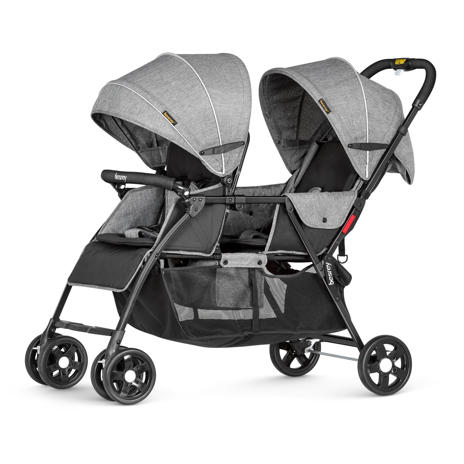 Besrey Double Stroller Baby Tandem Stroller 0-36 Months with Adjustable backrest/foot plate and 5 Point Harness