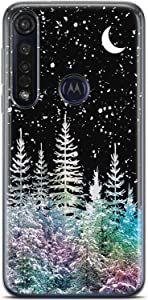 Mertak Clear Phone Case for Motorola Moto G8 Plus P40 One G7 G6 Play E6 Z4 Silicone Christmas Flexible Slim Design Protective Trees TPU Cover Lightweight Print Nature Snow Forest Winter Gift