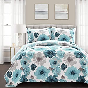 Lush Decor Blue Leah Quilt Floral 3 Piece Reversible, Full Queen Size Bedding Set