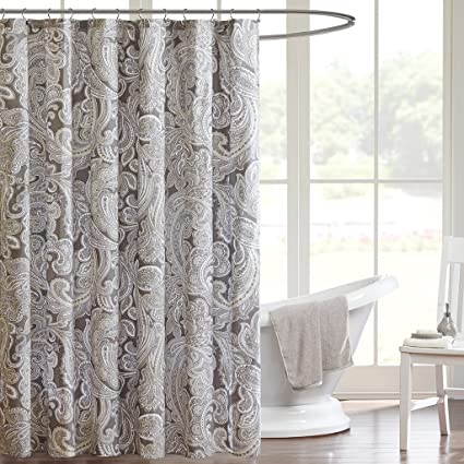 Madison Park Ronan Design Organic Cotton Fabric Long Shower Curtain,  Paisley Classic Shower Curtains For