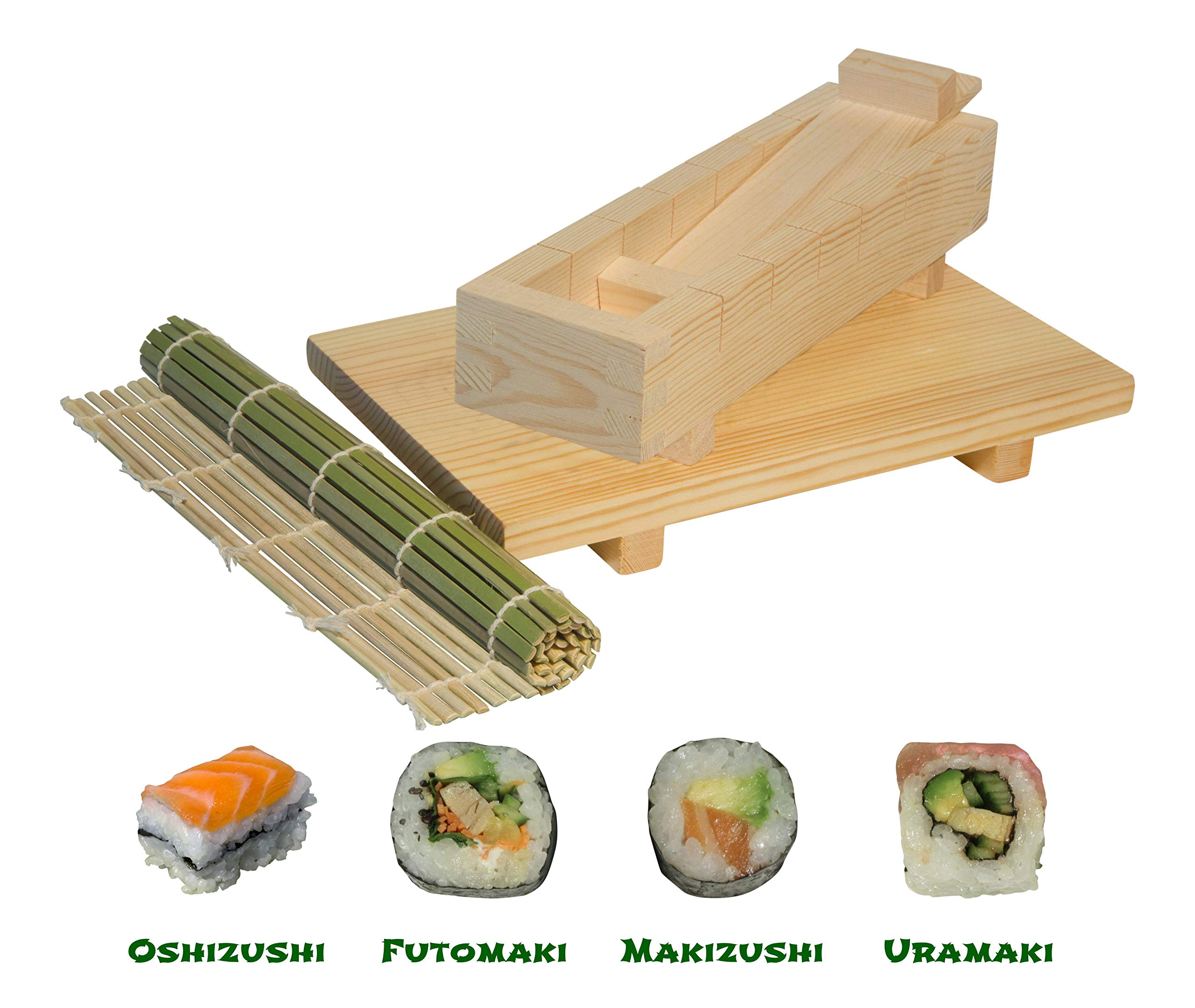 Sushi Making Kit - 4 in 1 Wooden Sushi Maker for Beginners and Chefs with Bamboo Roller Mat, Plate and Knife - Full Instructions + Ebook Included - Durable & Food Grade Materials by Sushefu