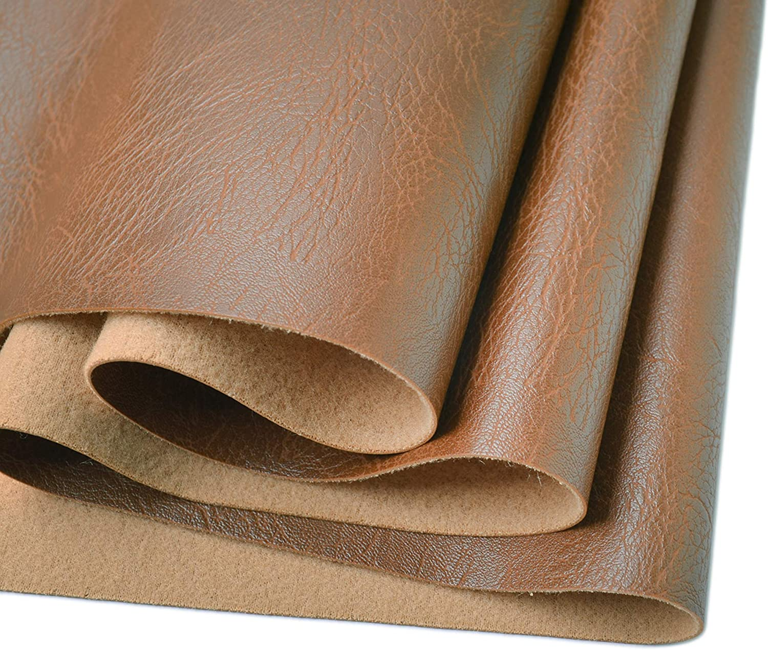 Wento Thick 1 Yard Faux Leather Fabric Soft Skin Grain PU Leather Fabric for Furniture Cover Reupholster Sofa Chairs Cushiones Vinyl Upholstery Fabric (1yard,Camel Tan)
