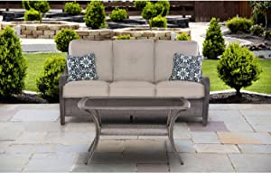 Hanover ORLEANS2PC-G-SLV Orleans 2 Piece Patio Sofa Set Lining Outdoor Furniture, Silver with Grey Wicker