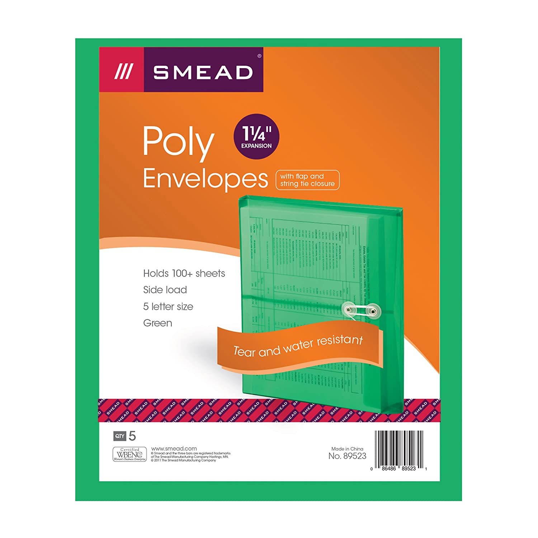 89522 Smead Poly Envelope 1-1//4 Expansion Side Load Blue Letter Size String-Tie Closure 5 per Pack