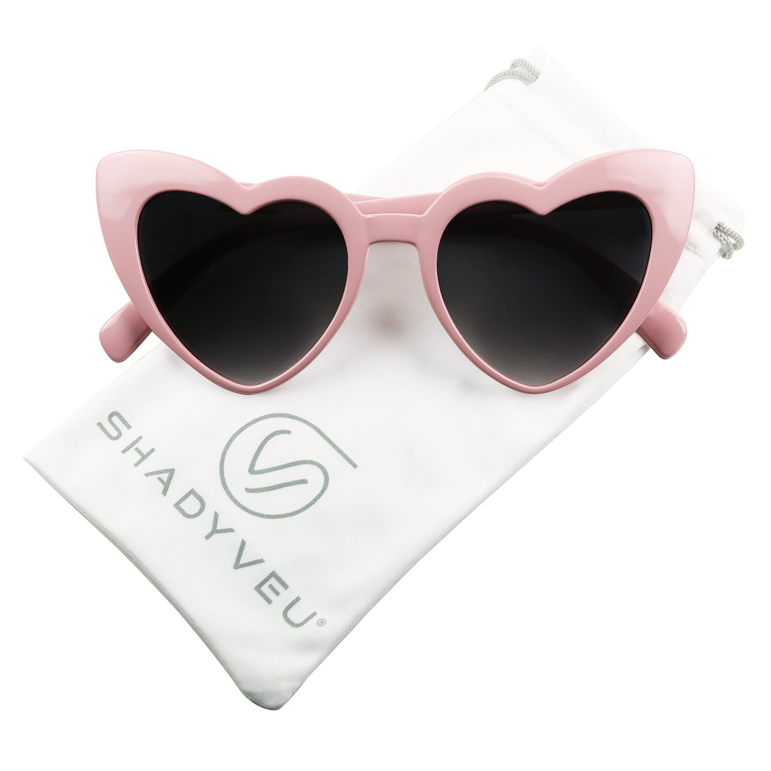 ShadyVEU - Chunky Love Heart Shaped Colorful Oversize High Tip Cute Sunglasses (Light Pink Frame, Black Lens)
