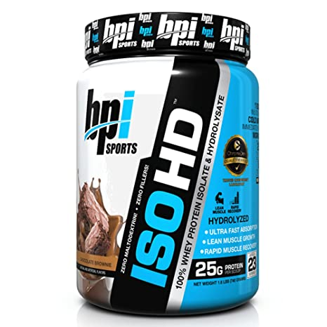 BPI Sports ISO HD Whey Protein Isolate and Hydrolysate, Cookies and Cream, 1.6 Pound
