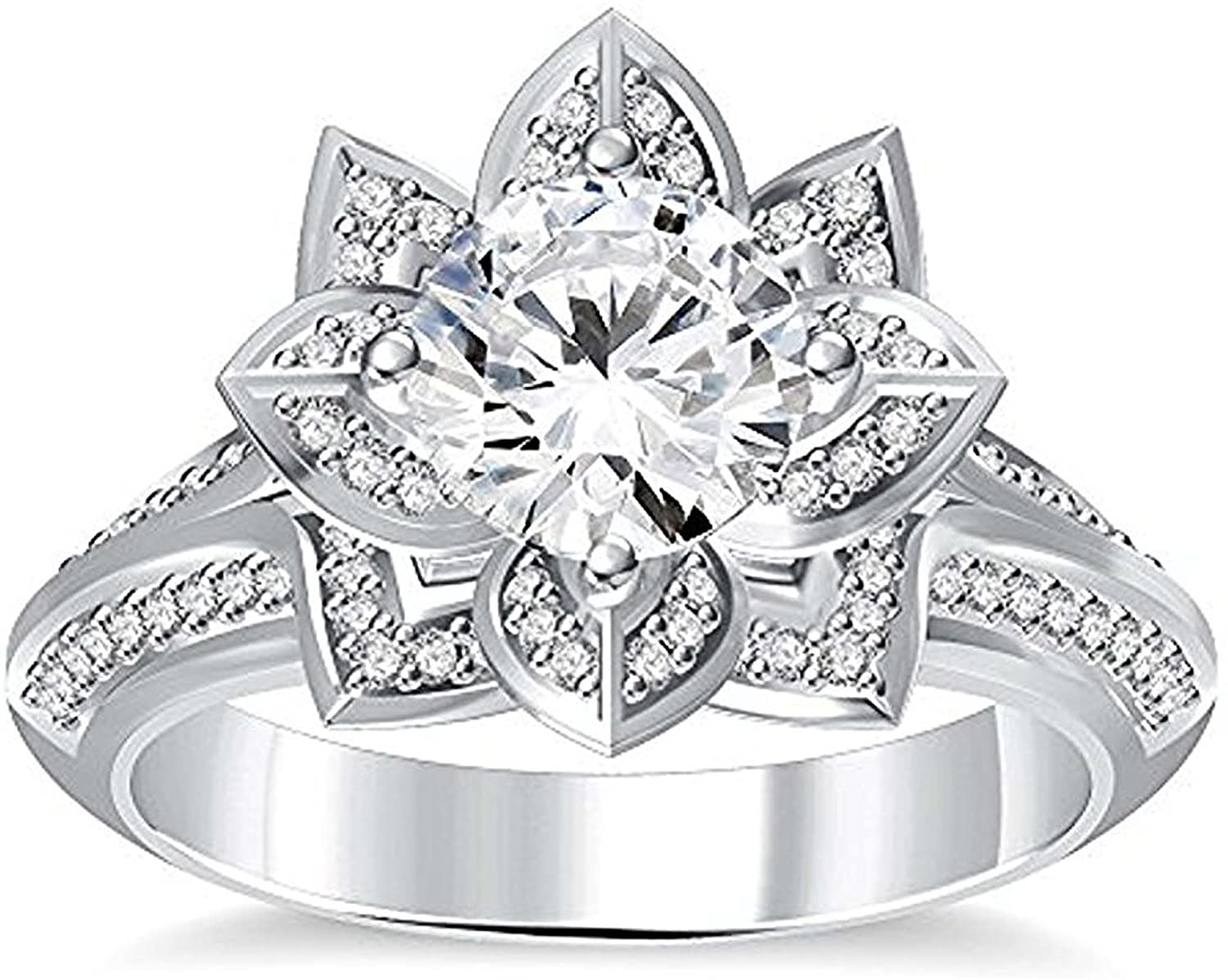 Silver Gems Factory 14K Gold Plated Alloy Round Cut Created Simulated Diamond Lotus Flower Ring Engagement Wedding Ring for Womens White,Yellow,Rose,Black