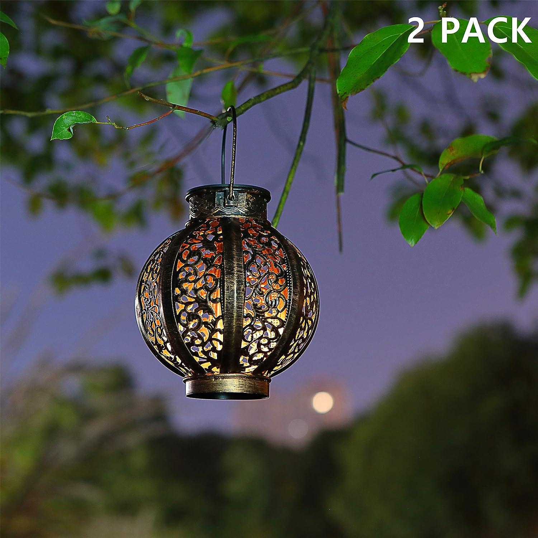 MAGGIFT 2 Pack Hanging Solar Lanterns Retro Solar Lights with Handle, Outdoor Solar Garden Lights Decor for Yard Tree Fence Patio 6 Lumens, Brown - -