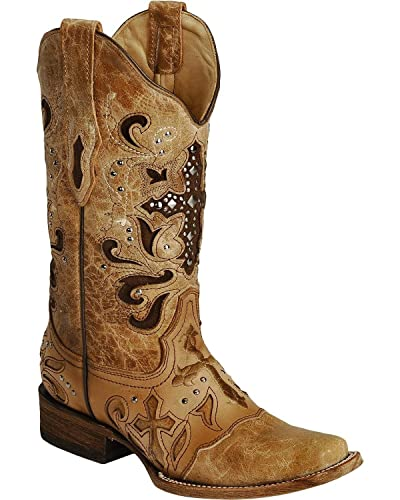 8c80cbee776 CORRAL Women s Studded Cross Inlay Cowgirl Boot Square Toe Saddle Tan 6.5  ...