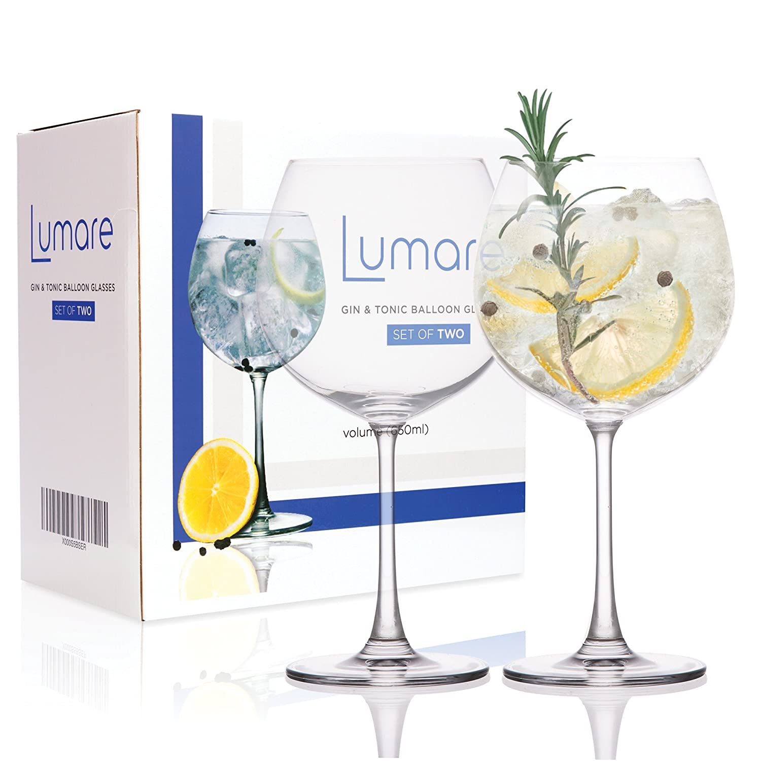 Crystal Gin Glasses - 650ml, Set of 2, Gift Boxed, Protective Packaging, Lead Free Crystal Glass, Large Gin Balloon Glasses Lumare