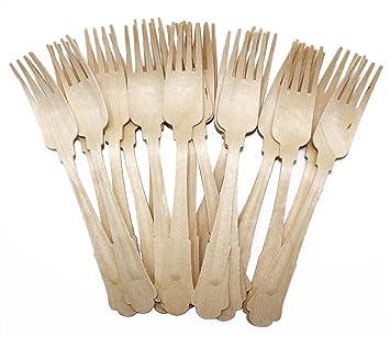 19,7 cm de madera cubiertos tenedores Madera horquilla con elegante mango