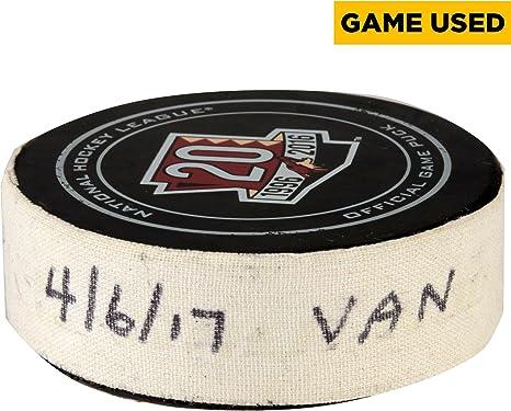 Arizona Coyotes Game-Used Hockey Puck vs. Vancouver Canucks on April ... 4fc9b76f8