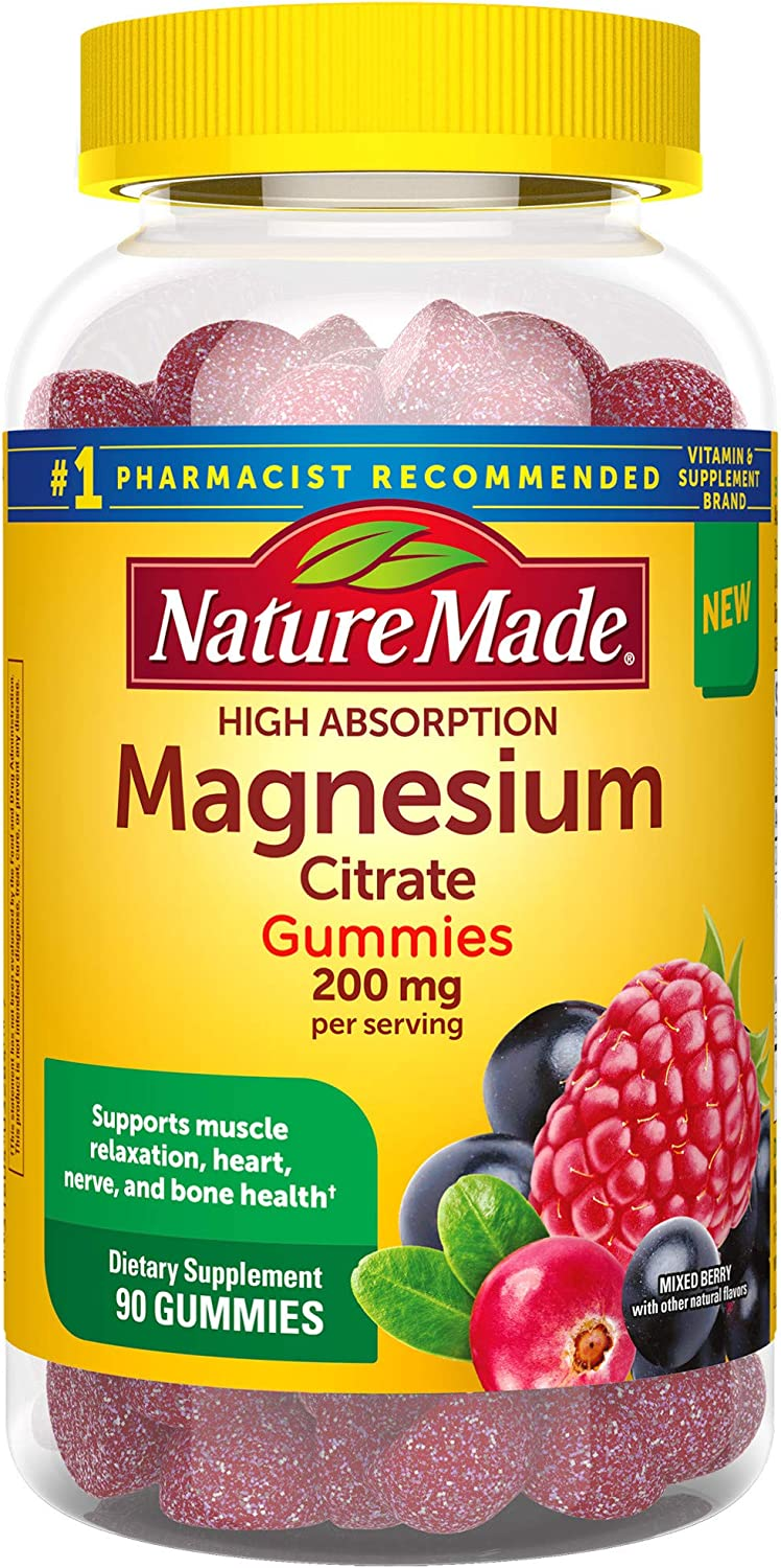 Nature Made High Absorption Magnesium Citrate 200mg Gummies to Support Muscle Relaxation 90 Count