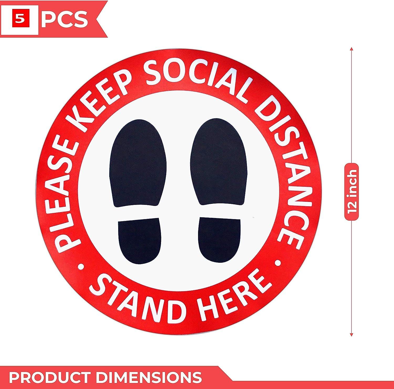 Social Distancig Floor Decals Safety Floor Sign Marker Stand Here 6 Feet Distance Anti-Slip Sticker Round 11.8 Inches 5 Pack