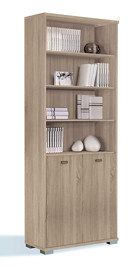 Tall Bookshelf Bookcase Library Cambrian Colour Adjustable Shelves And TwonbspDoors 22nbsp