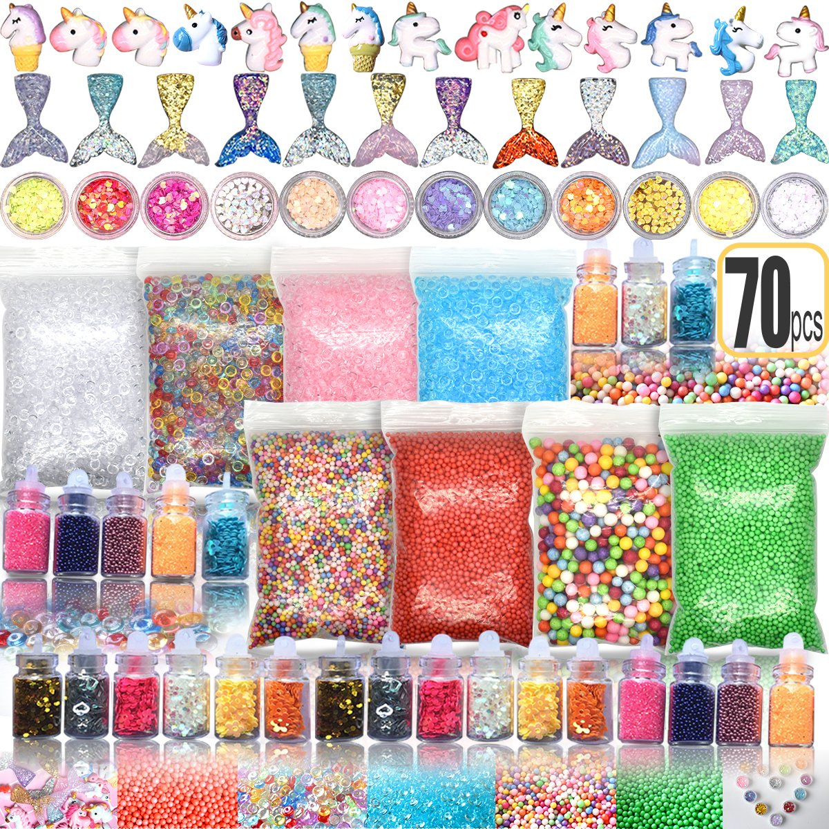 70PCS Slime Add Ins Slime Kit for Girls and Boys Floam Beads Fish Bowl Beads Mreaind Unicorn Slime Charms Glitter Jars Slime Supplies Kit Hulluter