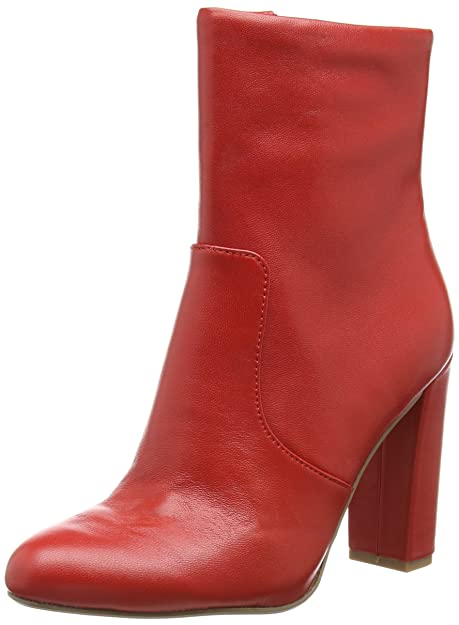 Steve Madden Editor Ankle Boot, Botines para Mujer, Rojo (Red Leather 607)