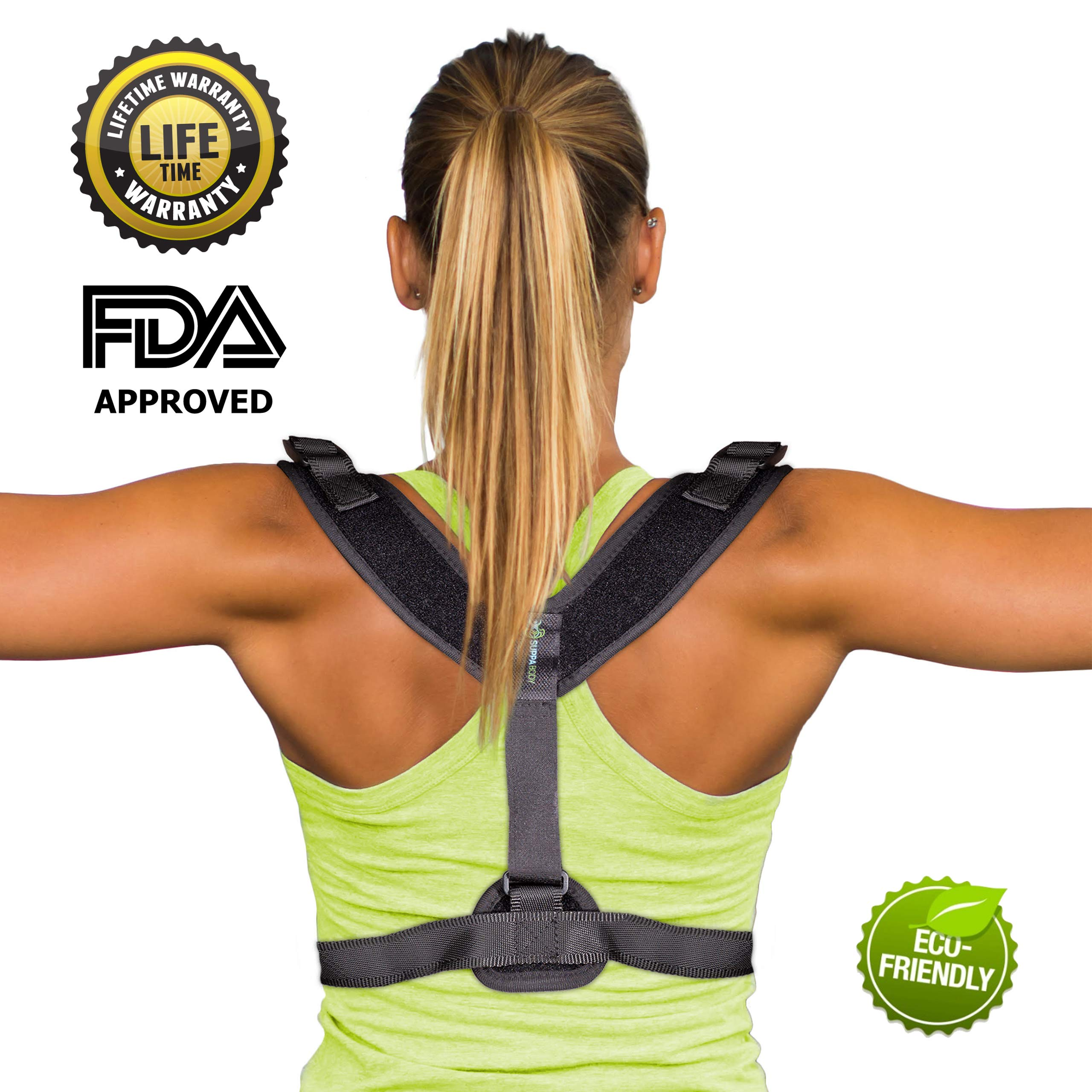 Suppa Body Back Posture Corrector for Women & Men- Effective & Comfortable Posture Brace for Slouching & Hunching- Invisible Posture Trainer- Physical Therapy Brace
