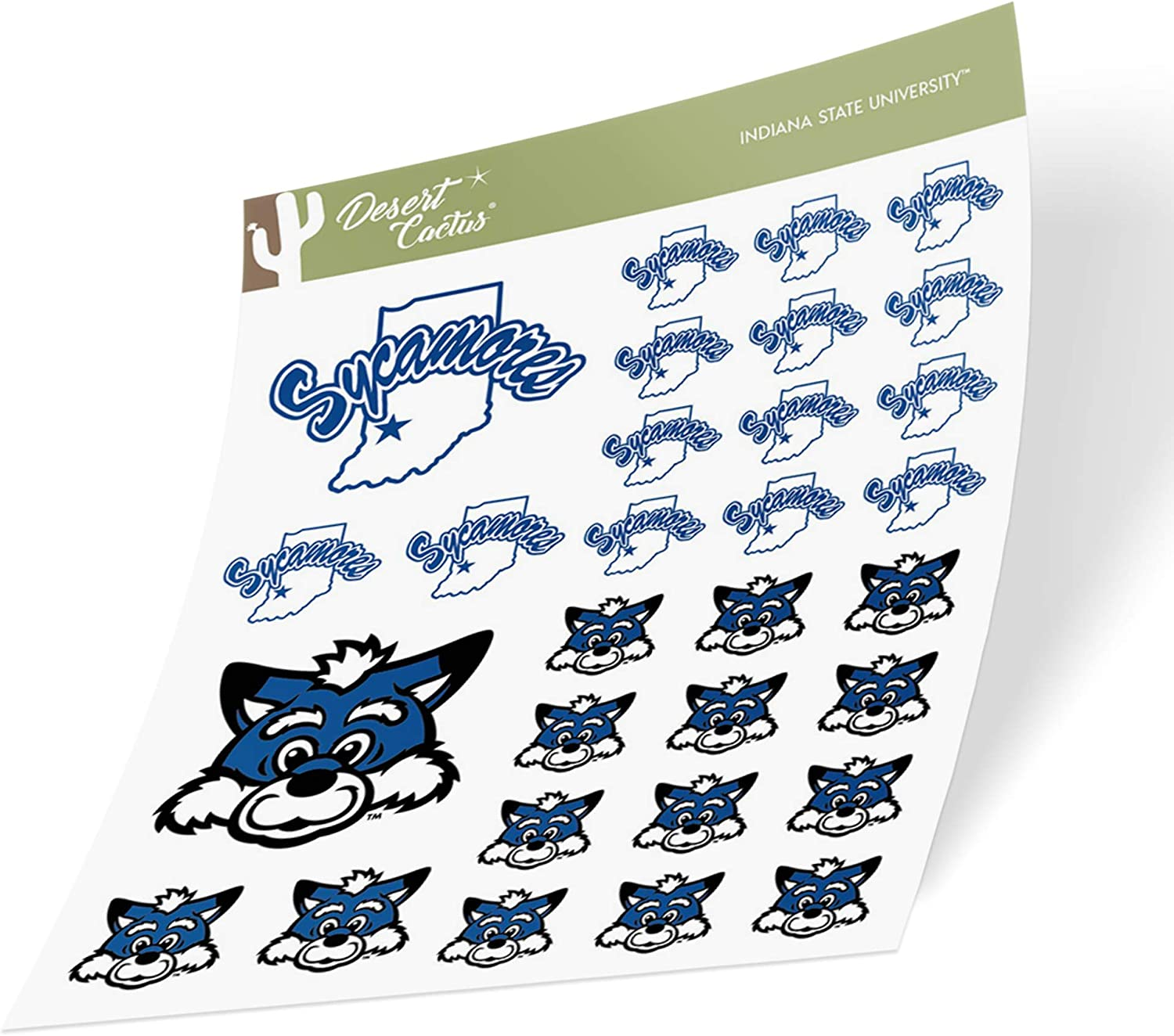 Indiana State University ISU Sycamores NCAA Sticker Vinyl Decal Laptop Water Bottle Car Scrapbook (Type 1-1 Sheet)