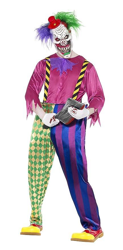 Smiffys Halloween Disfraz de payaso asesino a todo color, con camiseta, pantalón, tirantes
