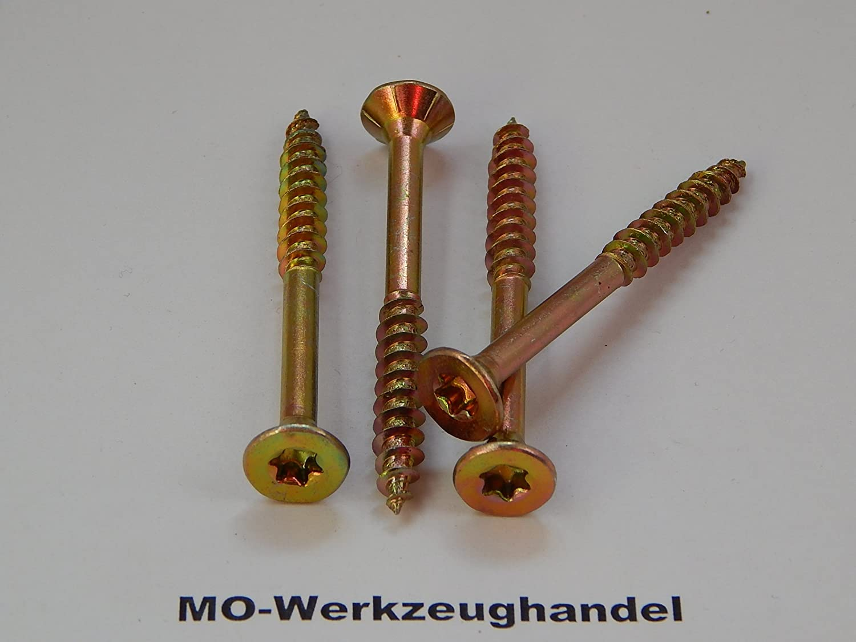 gelb verzinkt, TX Holzschrauben Holz-Schrauben 100 St/ück TORX Spanplattenschrauben 6,0x200 mm Senkkopf