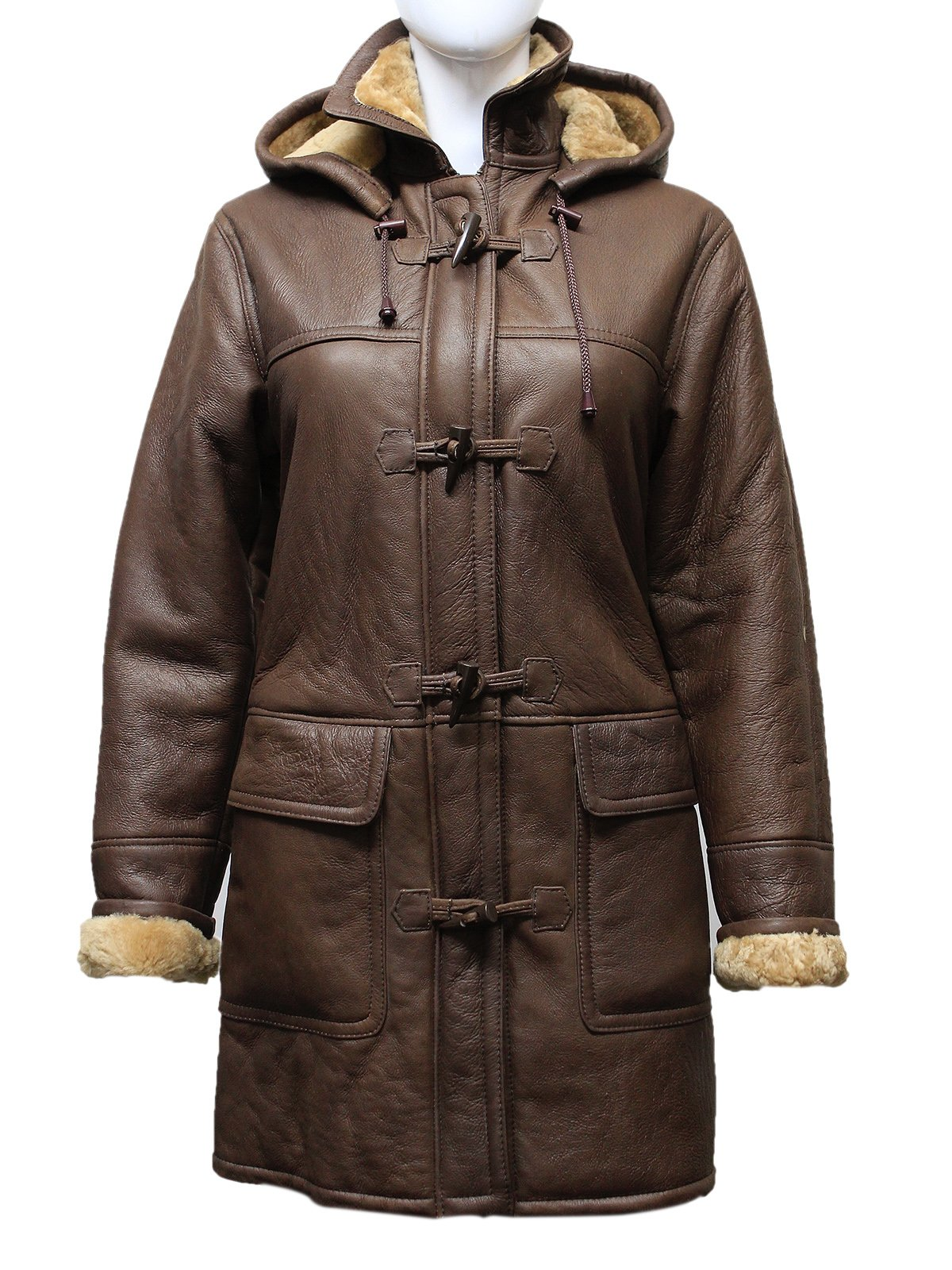 ABSY Ladies Brown New Smart Winter Warm Real Shearling Sheepskin Leather Duffel Coat With Removeable Hood (2X-Large 16)