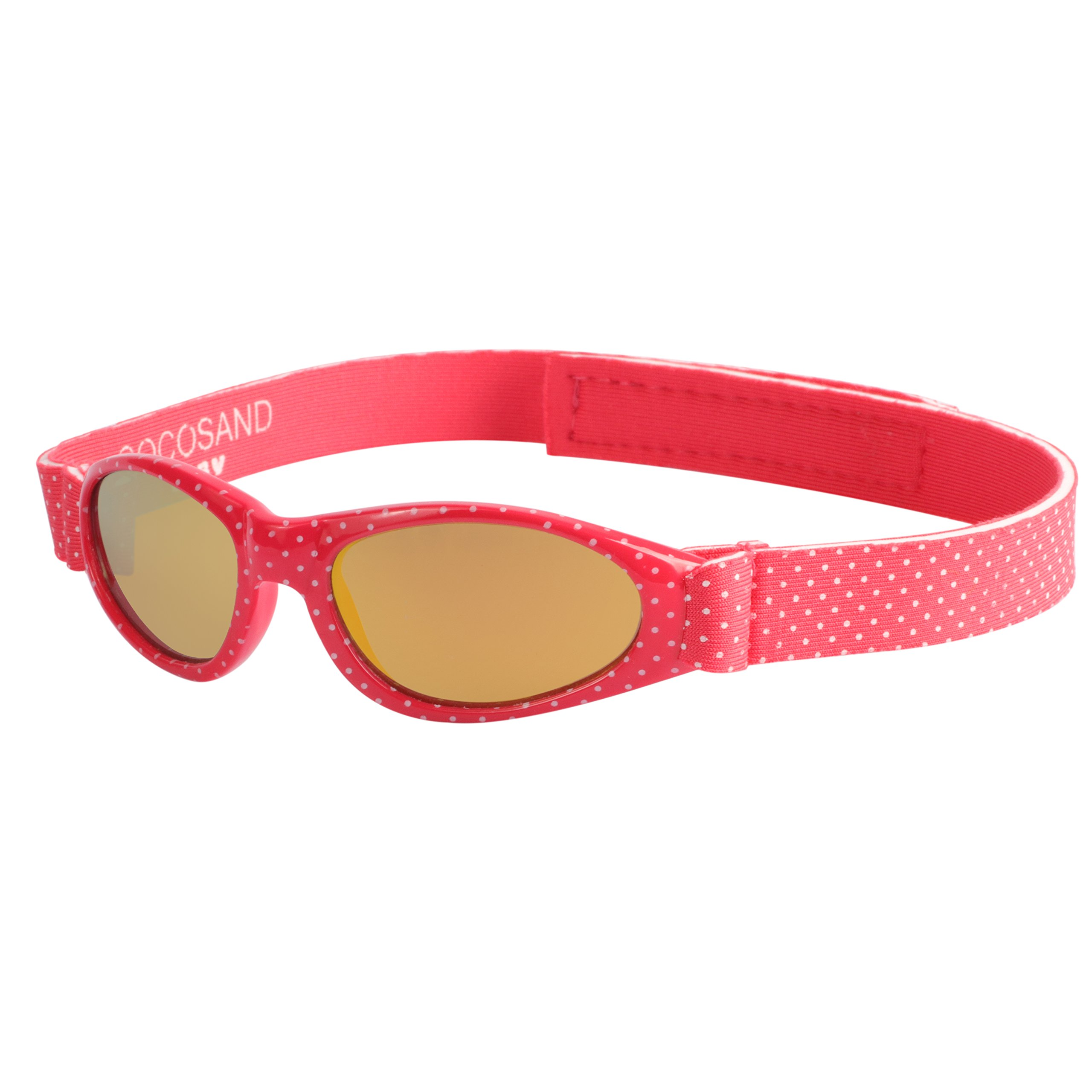 Baby Navigator Sunglasses with UV400 Lens and Adjustable Neoprene Straps & Exciting colors Age: 0-12months. (Strawberry Red with Red Revo)