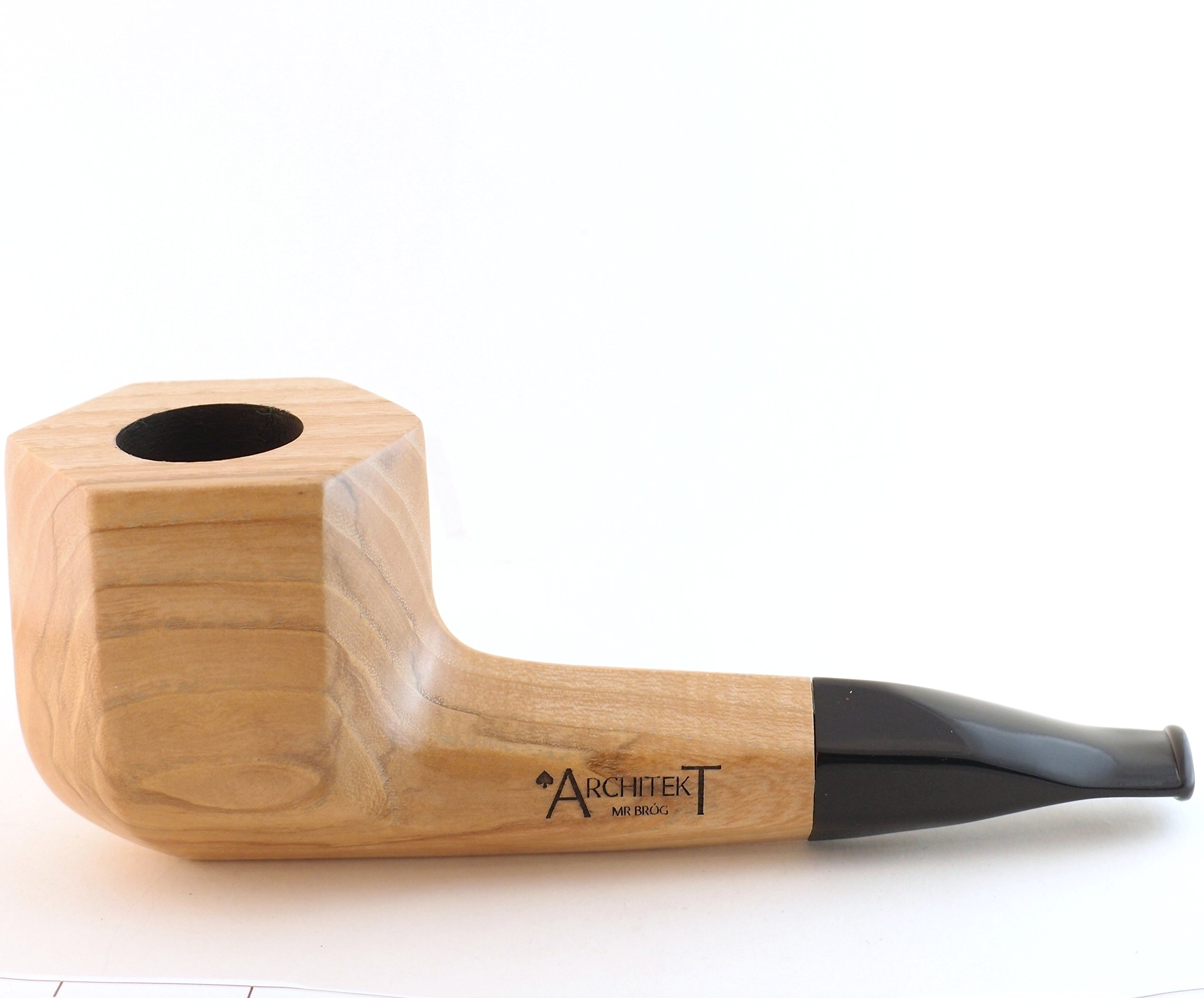 Mr. Brog Tobacco Pipe - Model No: 307 Architekt Hexagon - Natural - Hand Made from Top Quality Acacia Woodblock by Mr. Brog