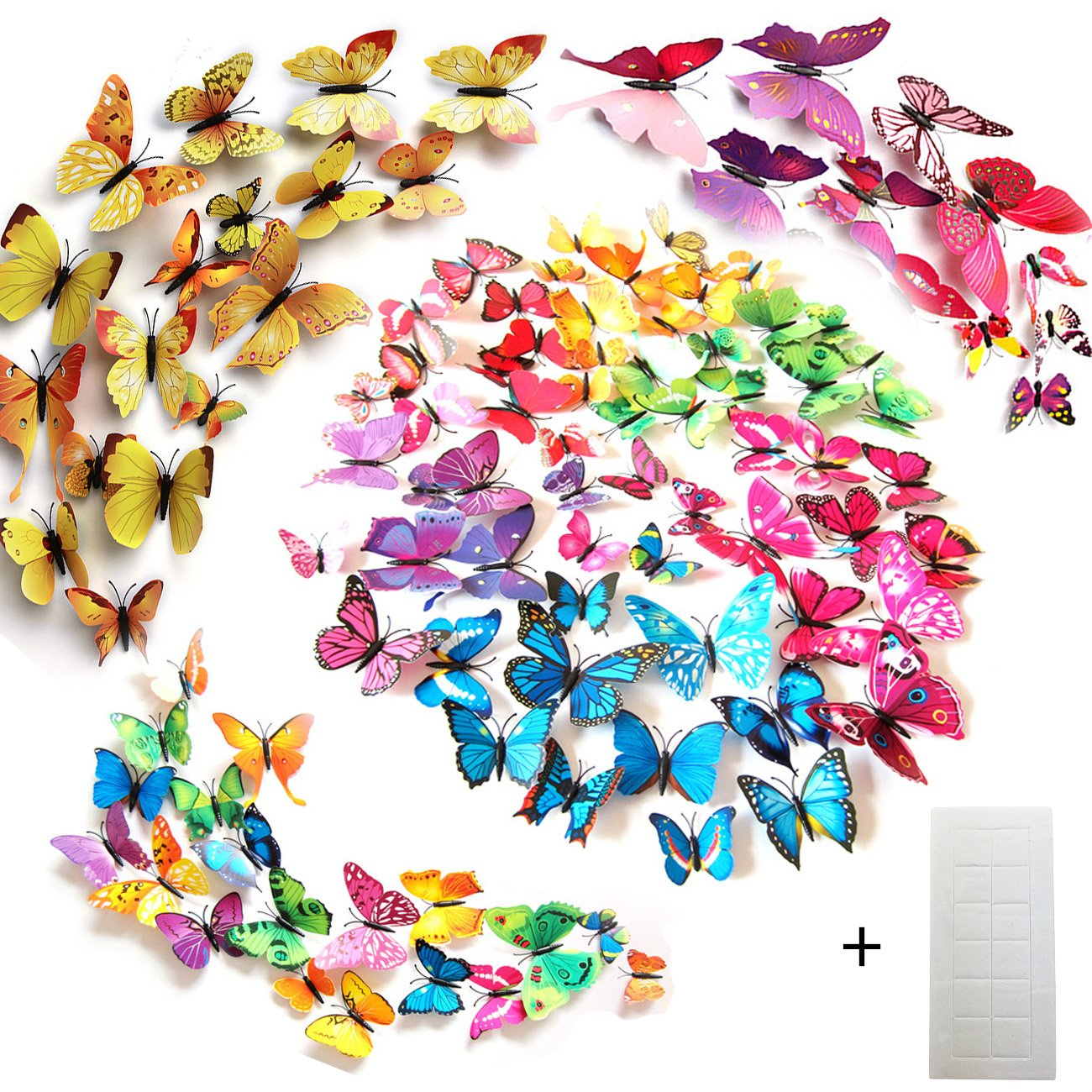 96 farfalle decorative colori assortiti farfalle 3d - Farfalle decorative per pareti ...