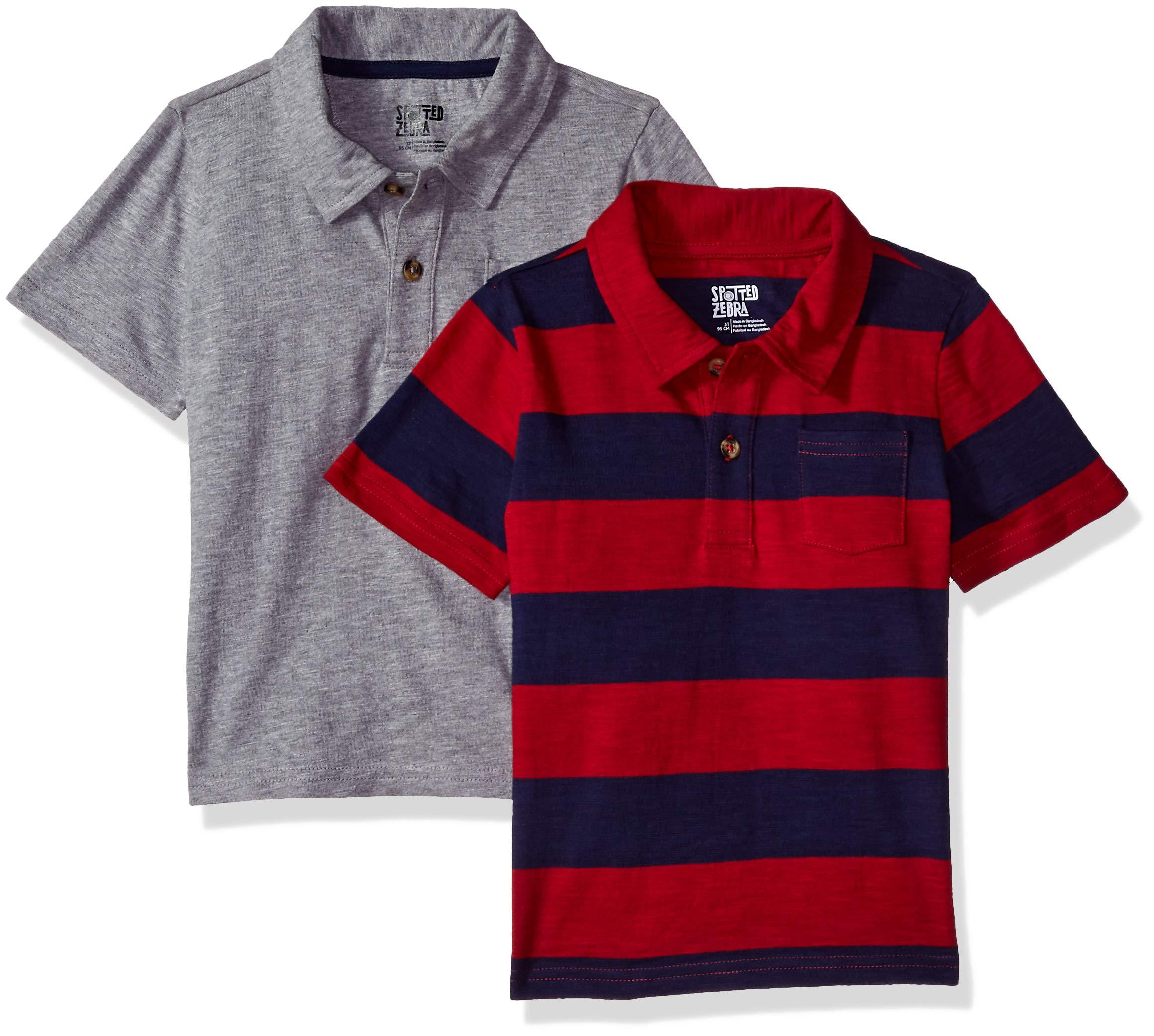 Spotted Zebra Boys' Big Kid 2-Pack Slub Jersey Short-Sleeve Polo Shirts, Red/Blue Stripe, Medium (8)