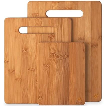 Amazon.com: Bamboo Cutting Board Set of 3 Kitchen Chopping ...