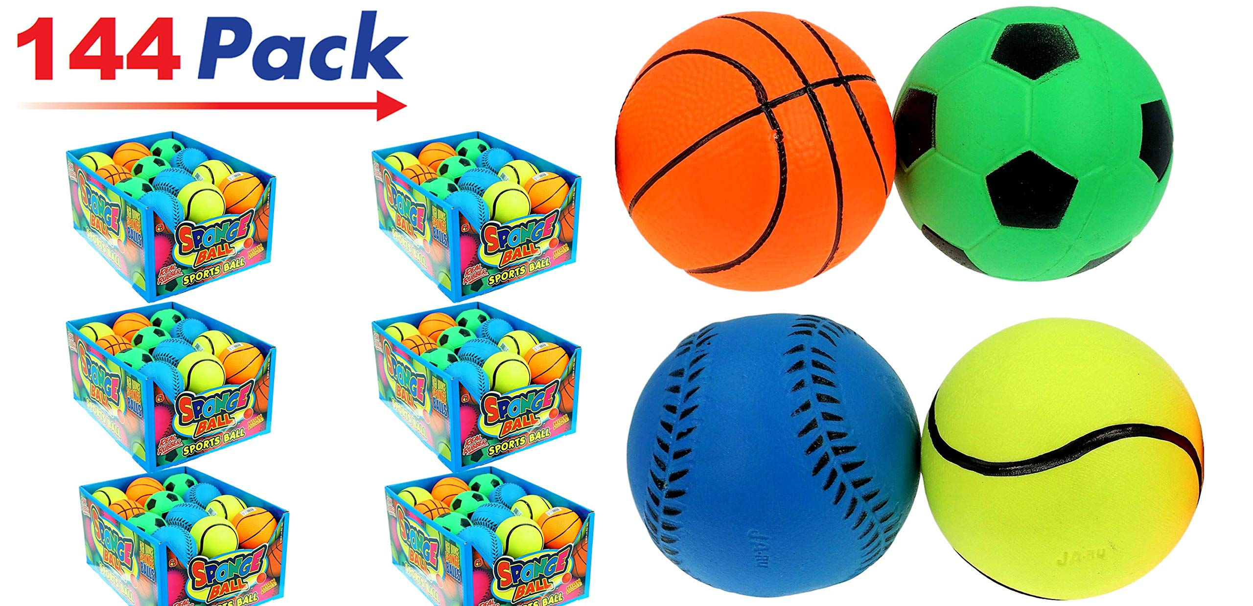 Rubber Bouncy Ball Sports Style (Pack of 144) 2.5'' Hi Bounce Same Like Pinky Balls for Play or Massage Therapy. Plus 1 Small JA-RU Ball. # 986-144p by JaRu