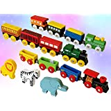 Wooden Train Set 12 PCS - Magnetic Engines with 3 Bonus Animals - Deluxe Toys for Kids Toddler Boys and Girls…