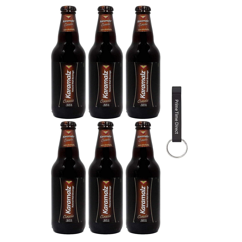 Karamalz Malt Classic (Non Alcohoic Beverage) 11oz, (6 Pack) Bottles Bundled with PrimeTime Direct Keychain Bottle Opener in a PTD Sealed Box