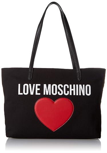 224e3fae95c Love Moschino Borsa Canvas E Pebble Pu, Women's Top-Handle Bag, Black (