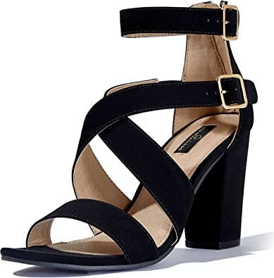 DailyShoes Womens Chunky Heel Sandal Open Toe Buckle Ankle Strap Casual Party Dress Sandals
