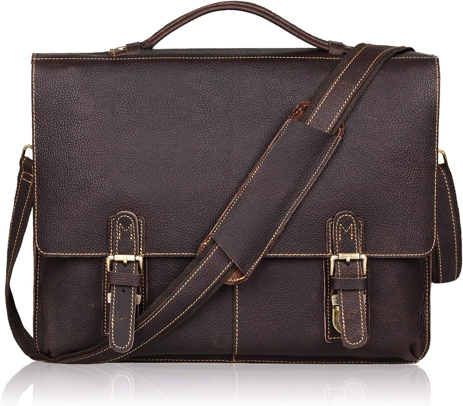 Jack Chris Leather 15.6 Briefcase Twin Buckle Men s Messenger Bag Dark Brown