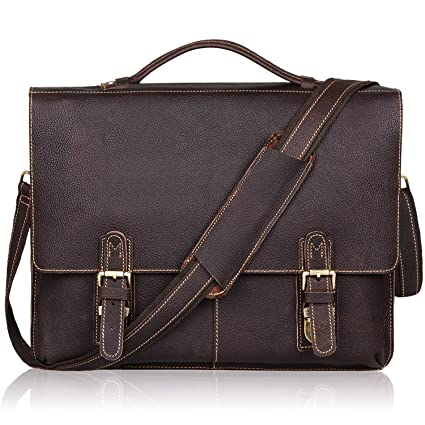 Image Unavailable. Image not available for. Color  Jack Chris Leather  Briefcase Twin Buckle Men s Messenger Bag a134e093ed07a