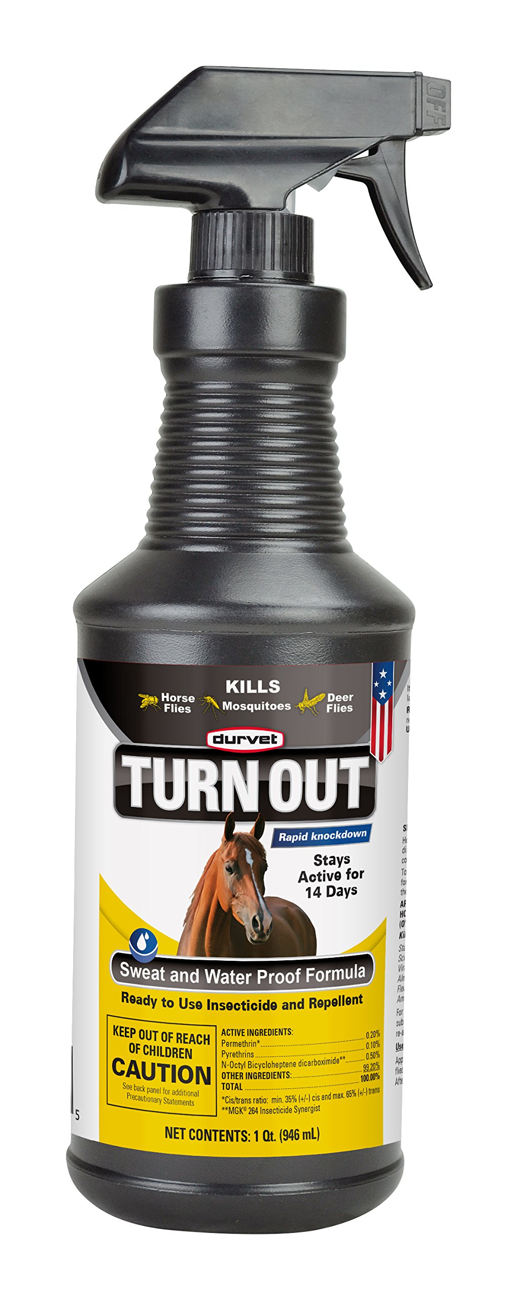 Durvet TURN OUT Insecticide and Repellent for Horses and Dogs. Sweat and Water Proof Formula Stays Active for Up to 14 Days. Spray or Wipe On. Ready-To-Use 32-Ounce Spray Bottle. Made in USA. by TURN OUIT (Image #1)