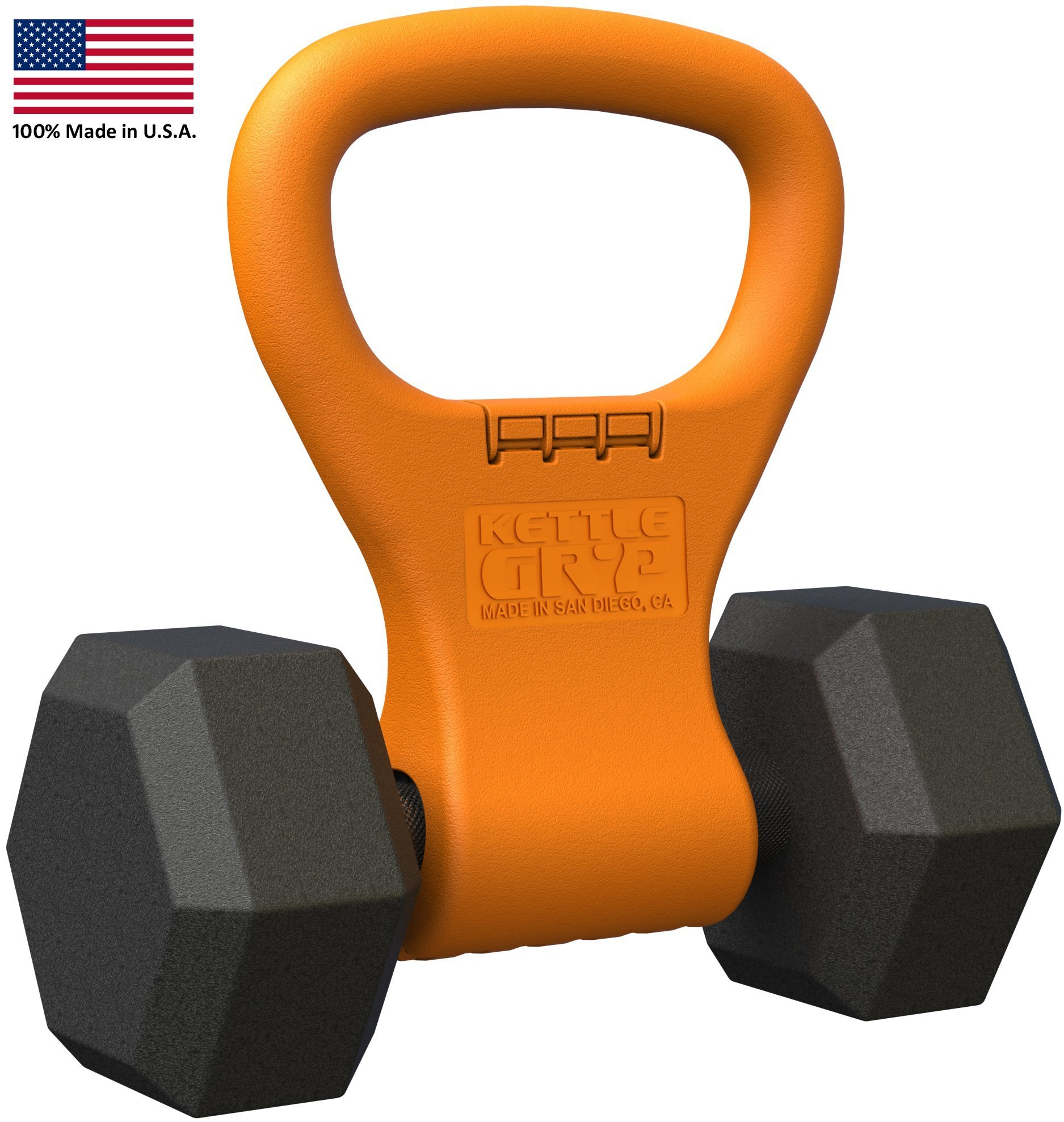 Kettle Gryp Kettlebell Adjustable Portable Weight Grip Travel Workout Equipment Gear for Gym Bag, Crossfit WOD, Weightlifting, Bodybuilding, Lose Weight | Clamps to Dumbells | Made in U.S.A. by Kettle Gryp