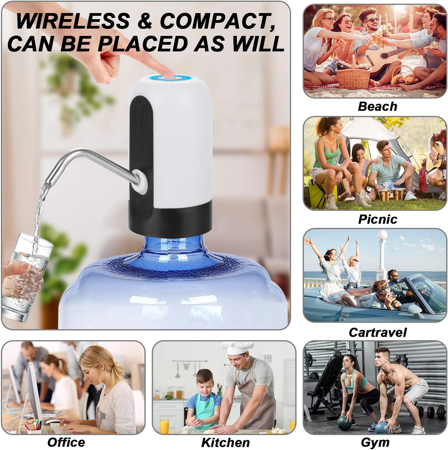 One-Button Operation Water Pump USB Charging for Home Kitchen ...
