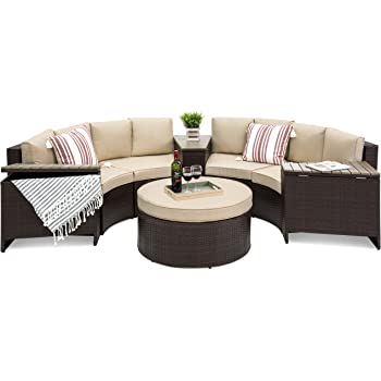 Beau Best Choice Products 8 Piece Half Circle Wicker Sectional Sofa Set  W/Waterproof Cushions